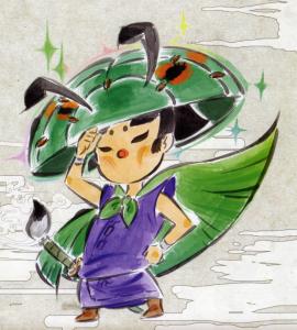 Issun, un des personnages principaux du jeu Okami