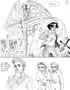 Page 189 de Roommates, où nos héros sont victimes d'une invasion de zombies. Reconnaissez vous les 4 fandoms ? x)